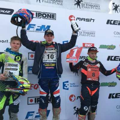 Podium Juniors : Killigan Delroueux - KTM, Alexis Collignon - Honda et Luca Quenot - KTM (PHOTO FB ENDUROPALE DU TOUQUET)